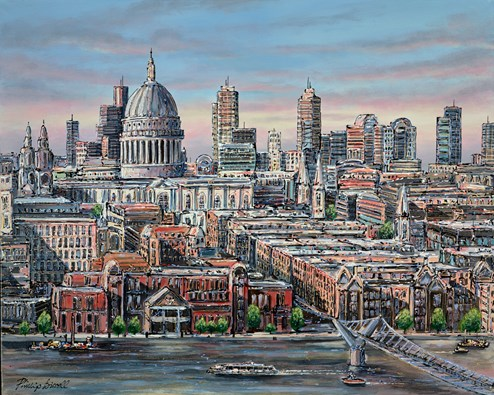 St Pauls from Tate Modern by Phillip Bissell - Original Painting on Box Canvas